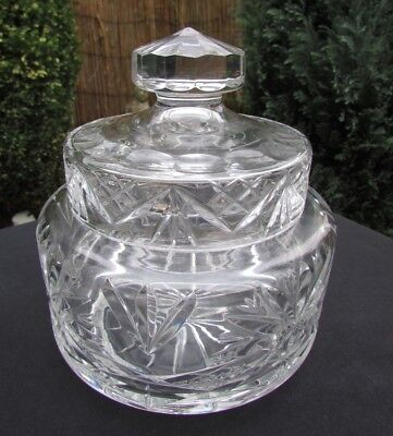 Heavy Cut Crystal Sweet Jar / Cookie Jar • 22£