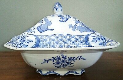 Antique Furnivals Old Chelsea Lidded Tureen Blue & White Birds Vegetable Dish • 28£