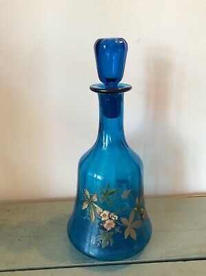 Antique Blue Glass Decanter With Handpainted Flowers/foliage • 34.99£