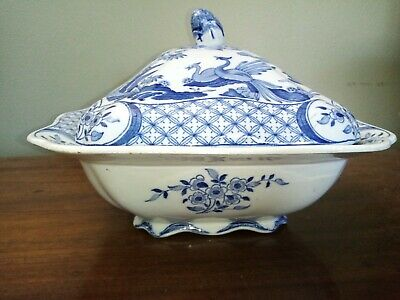 Antique Furnivals Old Chelsea Lidded Tureen Blue & White Birds Vegetable Dish • 24£