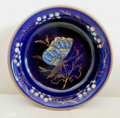 Antique Longwy Enamelled Dish Or Bowl, Internal Butterfly Decoration, C.1875-90 • 17.99£