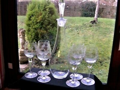 Tall Etched Pattern Wine Decanter & 6 Etched Glasses • 13£