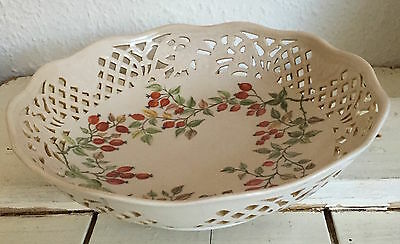 Ceramic Bowl With Pierced Work And Handpainted Berries Marked Foreign • 8£