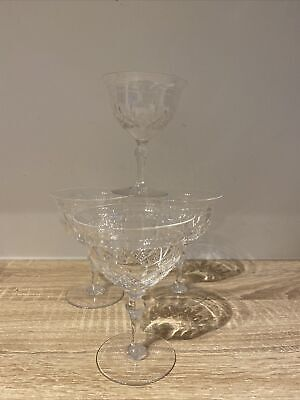 4 Stuart Crystal England Champagne Coupes /  Saucers • 45£