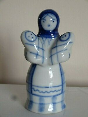 Vintage Gzhel Figurine Mother With Twin Babies Blue/White USSR Russian. • 6.50£