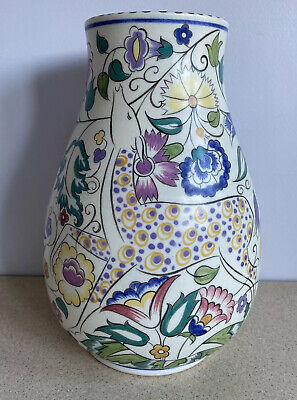 """Poole Pottery 1930's Ruth Pavely Persian Deer Vase 10"""".  Mint Condition. • 700£"""