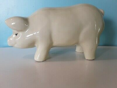 VINTAGE Large PIG FIGURINEpale Yellow Friendly Face • 1.20£