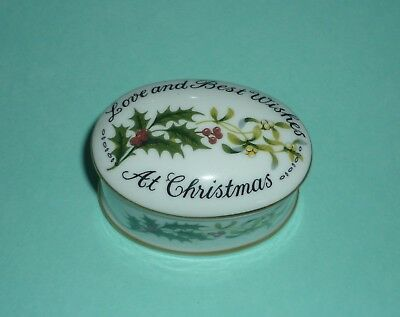 CROWN STAFFORDSHIRE 'LOVE AND BEST WISHES AT CHRISTMAS' TRINKET POT Made England • 10.50£