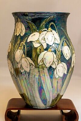 Lise Moorcroft Snowdrop Vase. Exc Condition. Hand Decorated Dated 1999 Signed. • 57£