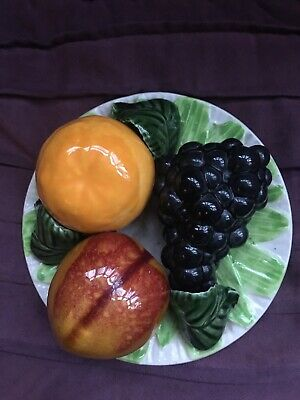 Vintage Pottery Fruit Bowl/ Plate Wall Plaque   • 14£