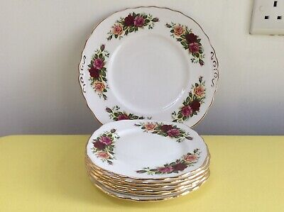 Royal Vale Country Roses Bread & Butter Plate + 6 Tea Plates - Like Royal Albert • 5.50£
