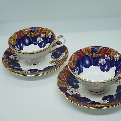 Pair Beautiful Queens Bone China Victoria Plums Cups And Saucers • 36£