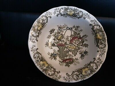 Vintage Ridgway Old English Bouquet Green Rimmed Vegetable Bowl 21 Cm Diameter • 6.99£