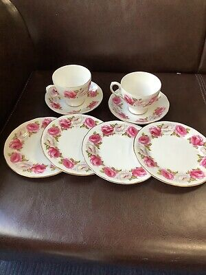 Queen Anne Princess Roses Trio, Cup, Saucer, Side Plate Beautiful Condition • 18£