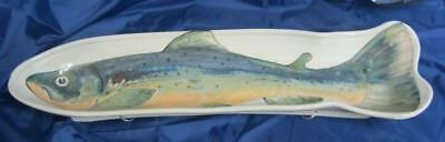 Huge! Highland Stoneware Hand Painted Trout/Salmon Serving Dish 25.5  Long • 79.99£