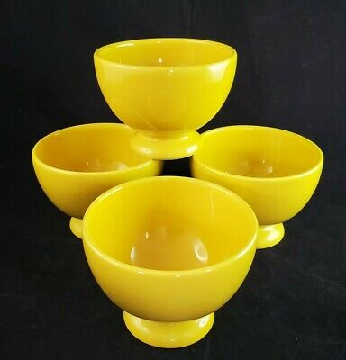 Crate & Barrel Waechtersbach Yellow Footed Cereal Ice Cream Bowls Lot Of 4 • 25.01£