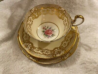 Aynsley Gilded Rose Pattern Trios Cup, Saucer And Plate (three Available) • 22£