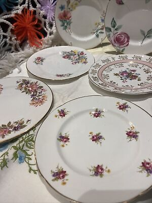 🌸Pink Gold 6 X Teaplates Side Plates Mismatch Floral Roses Very Pretty England • 22£