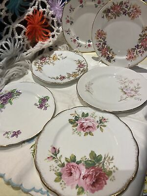 🌸6 Pink Gold Floral Teaplates Side Plates Roses Pretty Floral Pink Lilac Tones • 22£