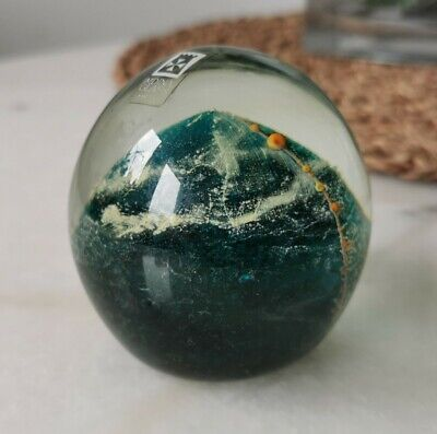 Vintage MDINA Glass Paperweight - Green Blue Yellow - Signed With Label • 14.99£