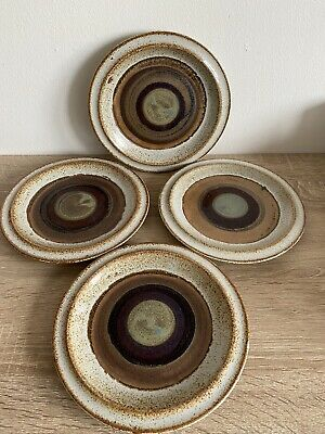 4 Vintage Dunoon Ceramics Stoneware Side / Tea Plates - Made In Scotland, • 24£