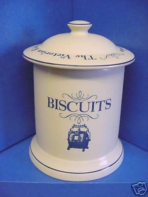 1869 Victorian Kitchen Pottery Company Biscuit Barrel Or Cookie Jar Cream & Blue • 34.99£