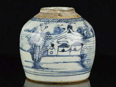 Late Ming Dynasty Chinese Blue And White Stoneware Ginger Jar • 395£