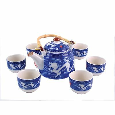 Chinese Tea Set - Blue And White - Double Dragon Pattern - Gift Box • 23.85£