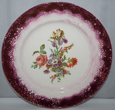 Grays Pottery - 10 1/2  Pink Lustre Plate - Floral Spray - C1950 - Vgc • 9.99£