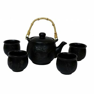 Chinese Tea Set - Black Ceramic - Etched Plum Branches Pattern • 25.50£