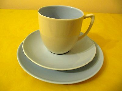 BRANKSOME Cream&Blue TRIOS (SIDE PLATES&CUPS&SAUCERS), Used   (0.45/136) • 12.50£