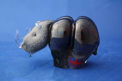 Langham Glass Crystal Hand Made Small Rhino Figure - New & Boxed • 44.95£