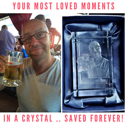 Personalised 3D Laser  Etched CRYSTAL GLASS BLOCK GIFT (YOUR PHOTO IN A CRYSTAL) • 54.95£