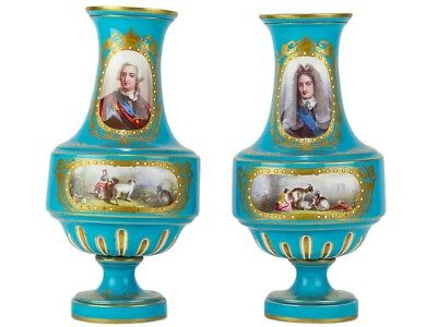 C1880 Pair Of Sevres Revival Vases Louis XIV And XV Portraits • 1,450£