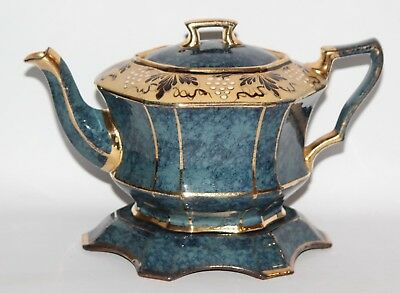 Vintage Teapot And Stand - Marbled Blue Finish With Vine And Leaf Detail - Vgc • 24.99£