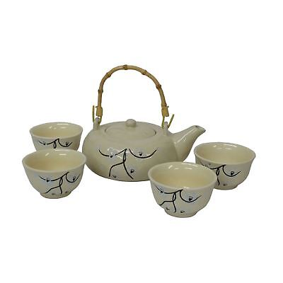 Chinese Tea Set - Cream Ceramic - Blossom And Twig Pattern - Bamboo Handle • 26.75£