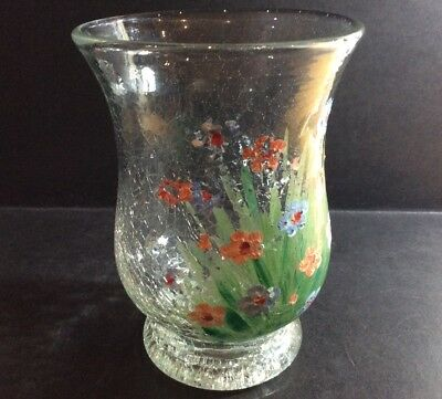 Antique/Vintage Hand Painted Crackle Glass Vase Decorated With Flowers • 18£