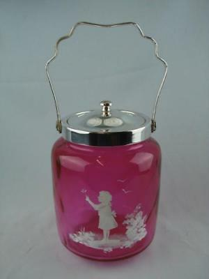 Repro Mary Gregory Style Cranberry Glass & Silver Plated Biscuit Barrel / Jar • 50£
