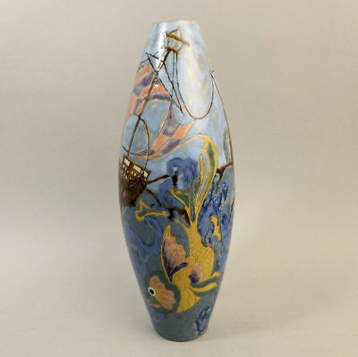 Cobridge Stoneware 'all At Sea' Design Trial Vase By Kerry Goodwin 2004 • 210£