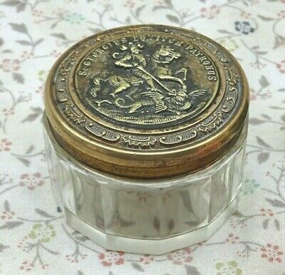 Vintage Glass Pot With A St. George & Dragon Decorated Lid ~ Bedroom Vanity Pot • 36£
