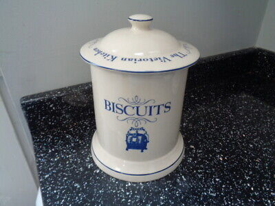 1869 Victorian Pottery Biscuit Jar  - Blue • 18.50£