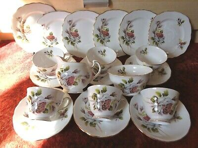 * Vintage ROYAL VALE Pink/Ivory Roses 20pc TEA SET 6 Trios Jug Bowl FREE UK POST • 37.99£