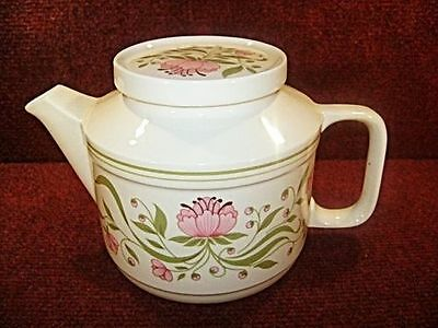 * STAFFORDSHIRE Pink Floral 2 PINT CAPACITY TEAPOT - FREE UK POSTAGE • 14.99£