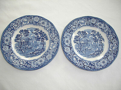 STAFFORDSHIRE LIBERTY BLUE China Bread And Butter Plates Set Of 2 Never Used • 9.40£
