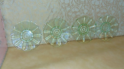 Four Matching Vintage Retro Art Deco Uranium Vaseline Glass Dessert Side  Plates • 34.99£
