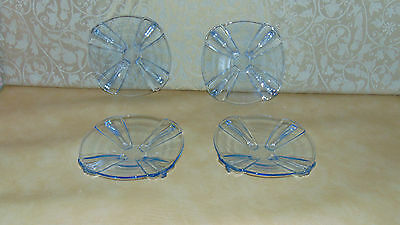 Set Of Four Matching Vintage Retro Art Deco Dessert Side  Plates Blue • 24.99£