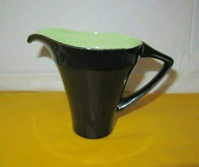 RARE Art Deco Shape Branksome Green&Black Milk/Water Jug 0.75Pt Approx  • 25£