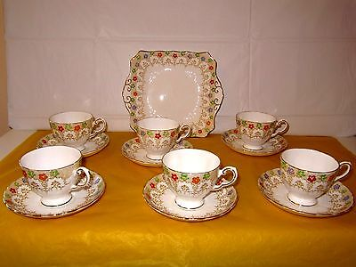 Plant Tuscan China Chintz Flowers Handpainted Part Tea Set For 6, ~FIRING FLAWS~ • 45£