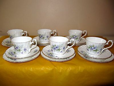 Set Of 6 HM ROYAL SUTHERLAND FLORAL TRIOS Side Plates,cups&saucers , Used In VGC • 25£
