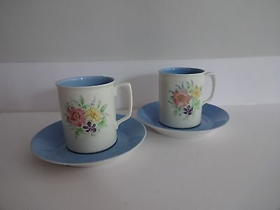 Branksome China Blue Miriam-Hand Painted-Cup & Saucer X 2 • 12£